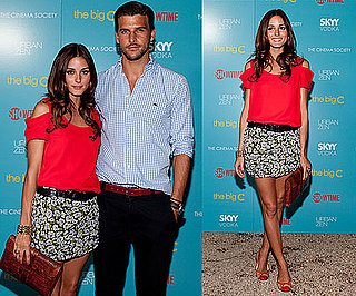 Olivia Palermo Wearing Red Cutout Top and Floral Skirt