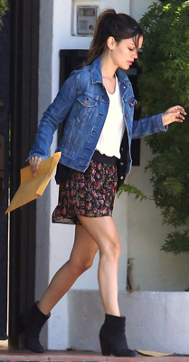Rachel Bilson Wears Jean Jacket, Floral Skirt, and Ankle Boots in Los Feliz