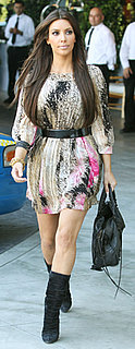 Kim Kardashian Wears DVF Dress and Balenciaga Bag in LA
