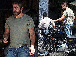 Pictures of Jake Gyllenhaal With a Beard on a Motorcycle in LA