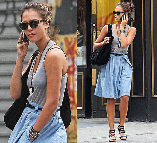Pictures of Jessica Alba in Denim Skirt and Gray Tank in NYC