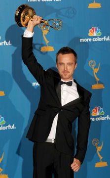 Breaking Bad's Aaron Paul talks about his outstanding supporting actor win in a drama in the Emmys Press Room