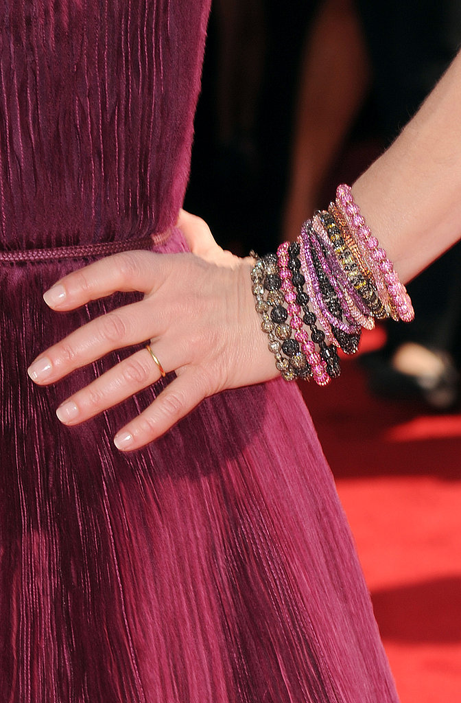 Kyra Sedgwick's burgundy gown was gorgeous on its own, but colorful beaded bracelets made it more fun.