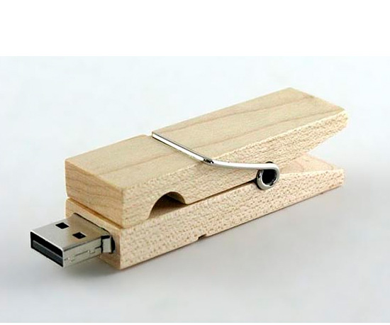Wooden Clothespin Flash Drive