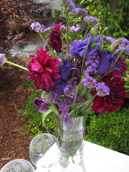The flowers were a medley of deep purples, light lavenders, and jewel-like burgundies.
