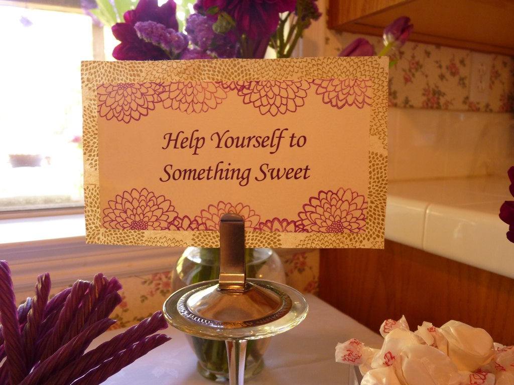 Guests were invited to fill a cellophane bag with sweets.
