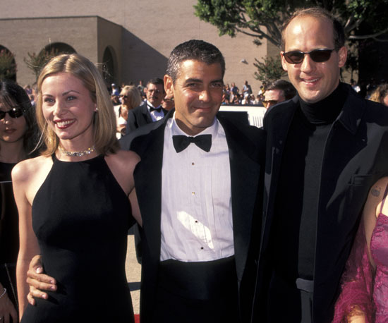 George Clooney had his ER co-star Anthony Edwards and girlfriend Celine Balitran by his side on the red carpet in 1996.