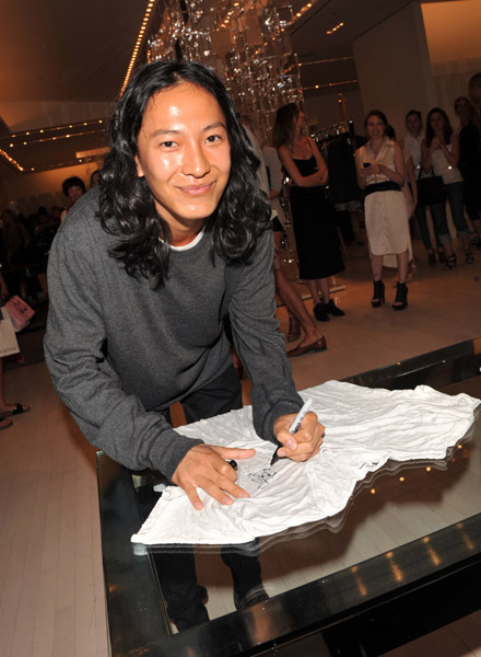Alexander Wang greeted fans and signed a t-shirt in July.