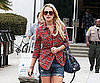 Slide Picture of Lindsay Lohan Wearing a Plaid Shirt and Shorts in LA
