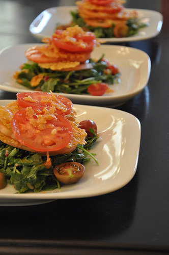 Recipe For Heirloom Tomatoes, Parmesan Crisps, and Herb Salad