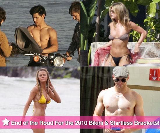 Pictures of Jennifer Aniston and Brooklyn Decker in Bikinis With Shirtless Taylor Lautner and Kellan Lutz