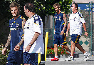 Pictures of David Beckham at a Galaxy Practice