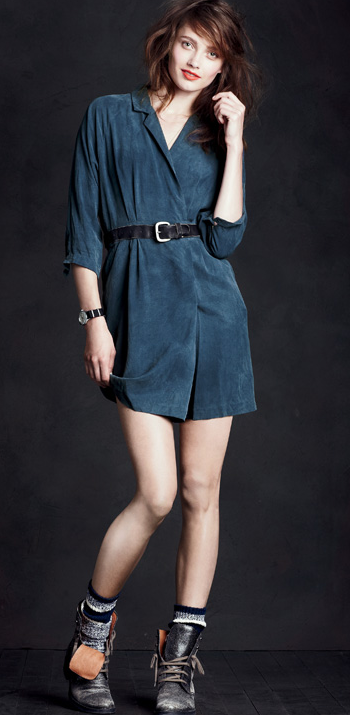 A pretty shirtdress has been made less prim thanks to chunky socks and lace-up boots. Very cool.