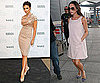 Victoria Beckham in Voluminous Sheath Dress at Heathrow Airport
