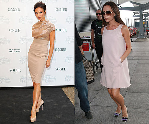 Victoria Beckham in Voluminous Sheath Dress and Miu Miu heels at Heathrow Airport