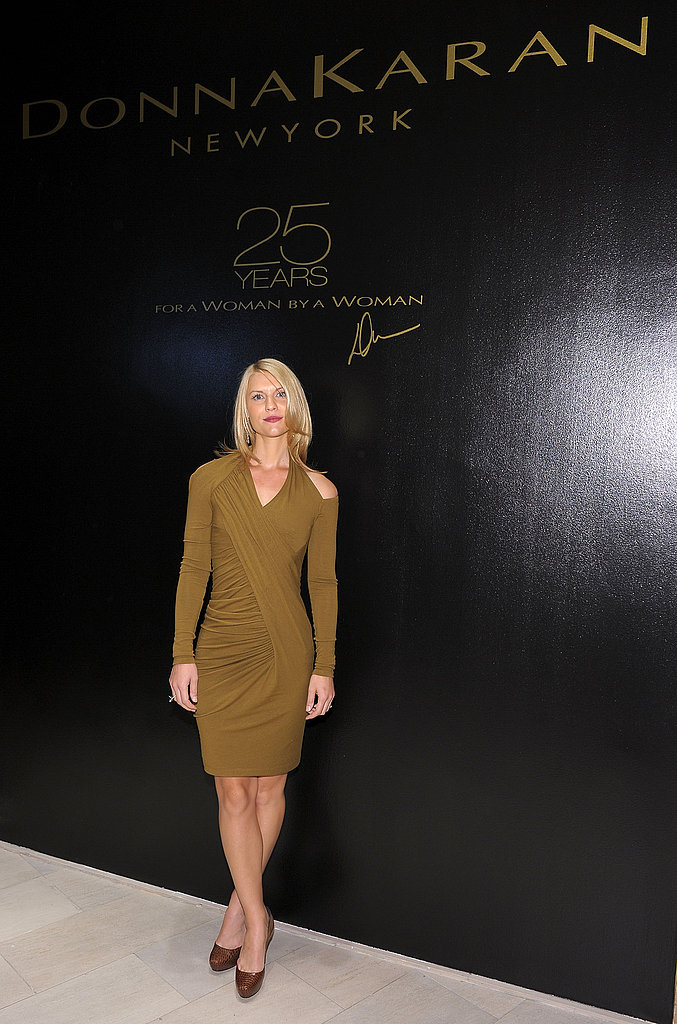 Claire Danes in neutral jersey Donna Karan at Saks Fifth Avenue.