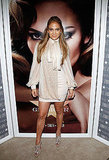 Jennifer Lopez, in a silky, tie-blouse dress, makes a fierce entrance at Macy's Herald Square store.