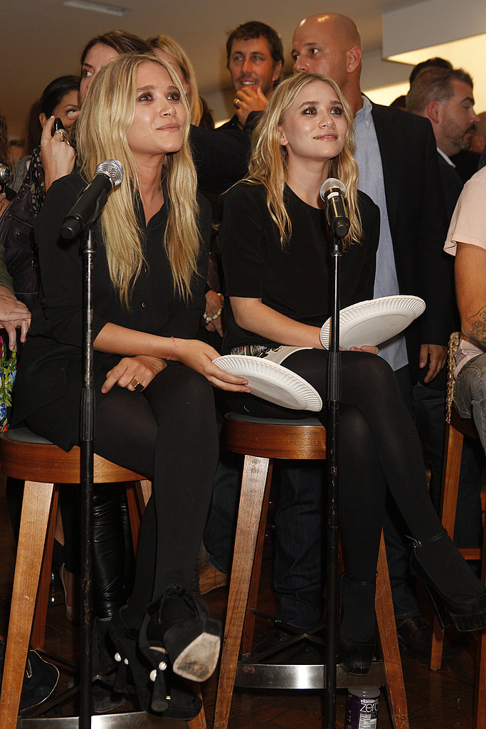 Mary-Kate and Ashley Olsen sitting pretty in all black at Barneys.