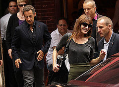 French President Nicolas Sarkozy and his model wife Carla Bruni dine out at Amaranth in New York City