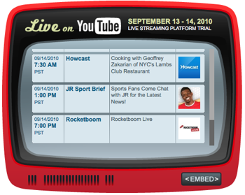YouTube Live Streaming Shows