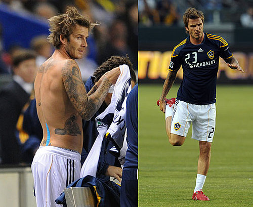 David Beckham Shirtless at His First Match Back For LA Galaxy After Achilles Injury