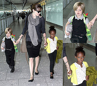 Pictures of Angelina Jolie, Shiloh Jolie-Pitt and Zahara Jolie-Pitt at Heathrow