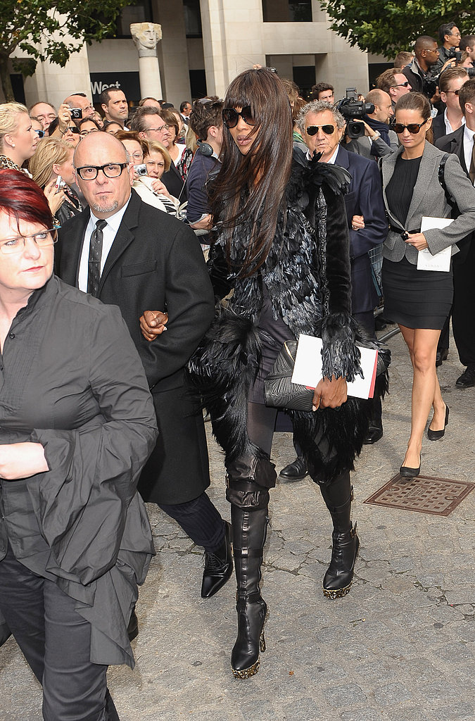 Naomi Campbell in a furry noir getup.
