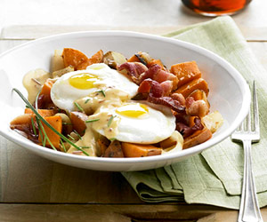 Sweet Potato Hash With Spicy Hollandaise Recipe
