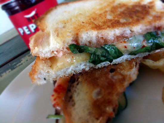 A grilled cheese made with Hot Pepper Jelly.