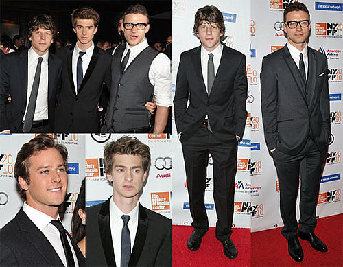 Jesse Eisenberg, Justin Timberlake, Andrew Garfield at the NYC Premiere of The Social Network