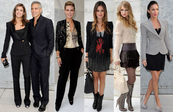 Taylor Swift, George Clooney, Rachel Bilson, Megan Fox at 2011 Spring Milan Fashion Week
