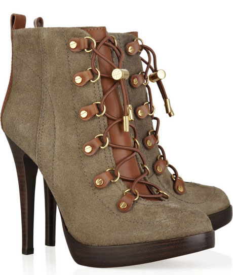 Tory Burch Halima Suede and Leather Ankle Boots