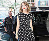 Slide Picture of Taylor Swift in Red Lipstick and Black and White Dress