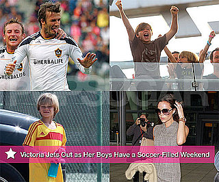 Pictures of Victoria Beckham at Heathrow While David, Brooklyn, and Romeo Play Soccer in LA
