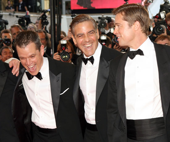 Mat Damon, Brad Pitt, and George Clooney were reunited at the Cannes Film Festival for their May 2007 premiere of Ocean's Thirteen.