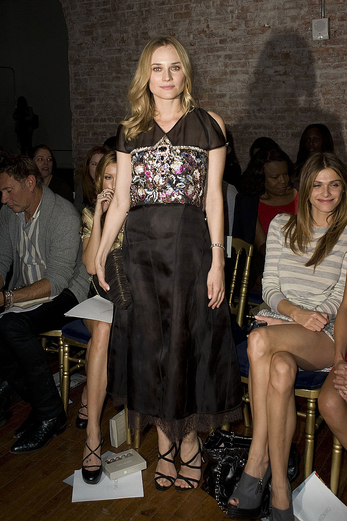 Diane's always a fave — this time she's a standout in femme floral embellishment and black at Jason Wu.