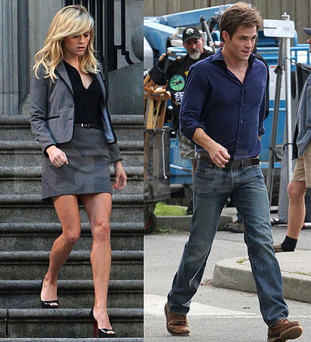 Pictures of Reese Witherspoon and Chris Pine Shooting This Means War