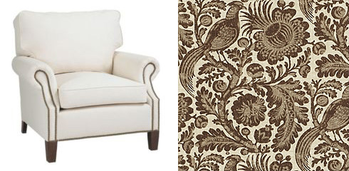 Get the look with a Ballard Designs Stratford Chair ($821) upholstered in Anya Chocolate.