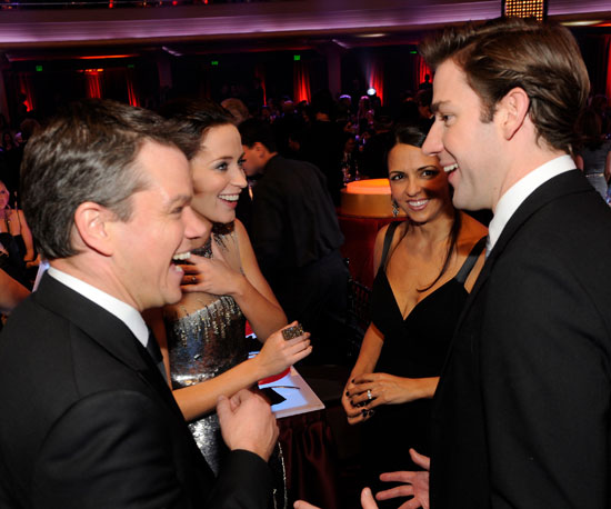 Matt Damon and Luciana Damon chatted backstage with John Krasinski and Emily Blunt at the Critics Choice Awards in January 2010.