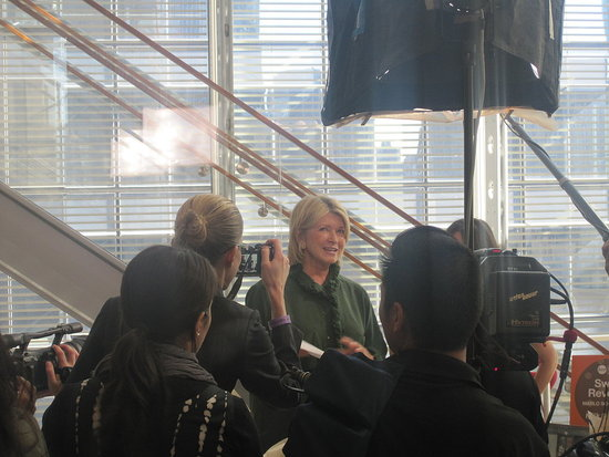 Martha Stewart was surrounded by a camera crew at all times.