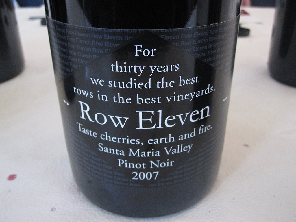 At walk-around tastings, I taste the wine and if I like it, I usually inquire about the retail price. Although this Row Eleven 2007 Santa Maria Pinot Noir is a little higher than I spend on an everyday bottle, it's so lush and fruity it would be worth the splurge.