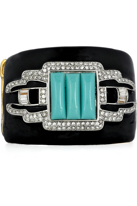 Kenneth Jay Lane Turquoise and Swarovski Cuff ($310)