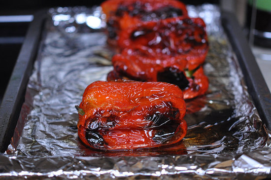 All sides of the pepper should be charred after about 30 to 40 minutes.