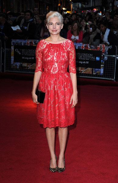 Michelle Williams wore an adorable red lace Erdem dress to the London premiere of Blue Valentine.
