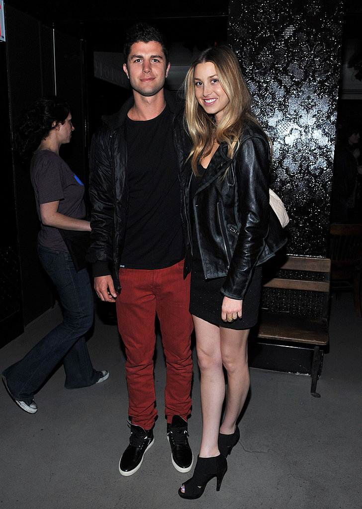 Edgier ensembles perfectly paired:  Whitney sizzles in leather; Ben lends a pop of color at the Tribeca Film Festival.