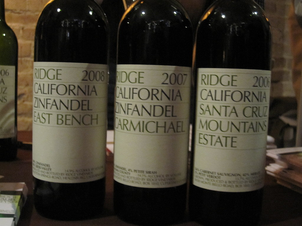 All of Ridge's pourings were excellent, but my preferred bottle was the Santa Cruz Mountains Estate.