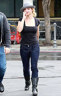 Pictures of Britney Spears Braving a Stormy Day in LA in Boots and a Hat