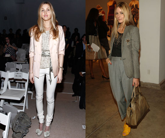 A creamy white palette for Whit; gray-hued suit separates for Olivia.