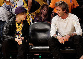 Denzel Washington, David Beckham, Jaden Smith, Justin Bieber and Leonardo DiCaprio at a Lakers Game