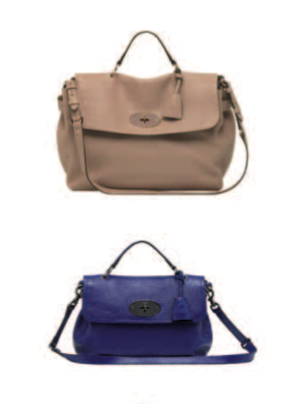 Large Edie in Powder Beige, Edie in Patent Electric Blue